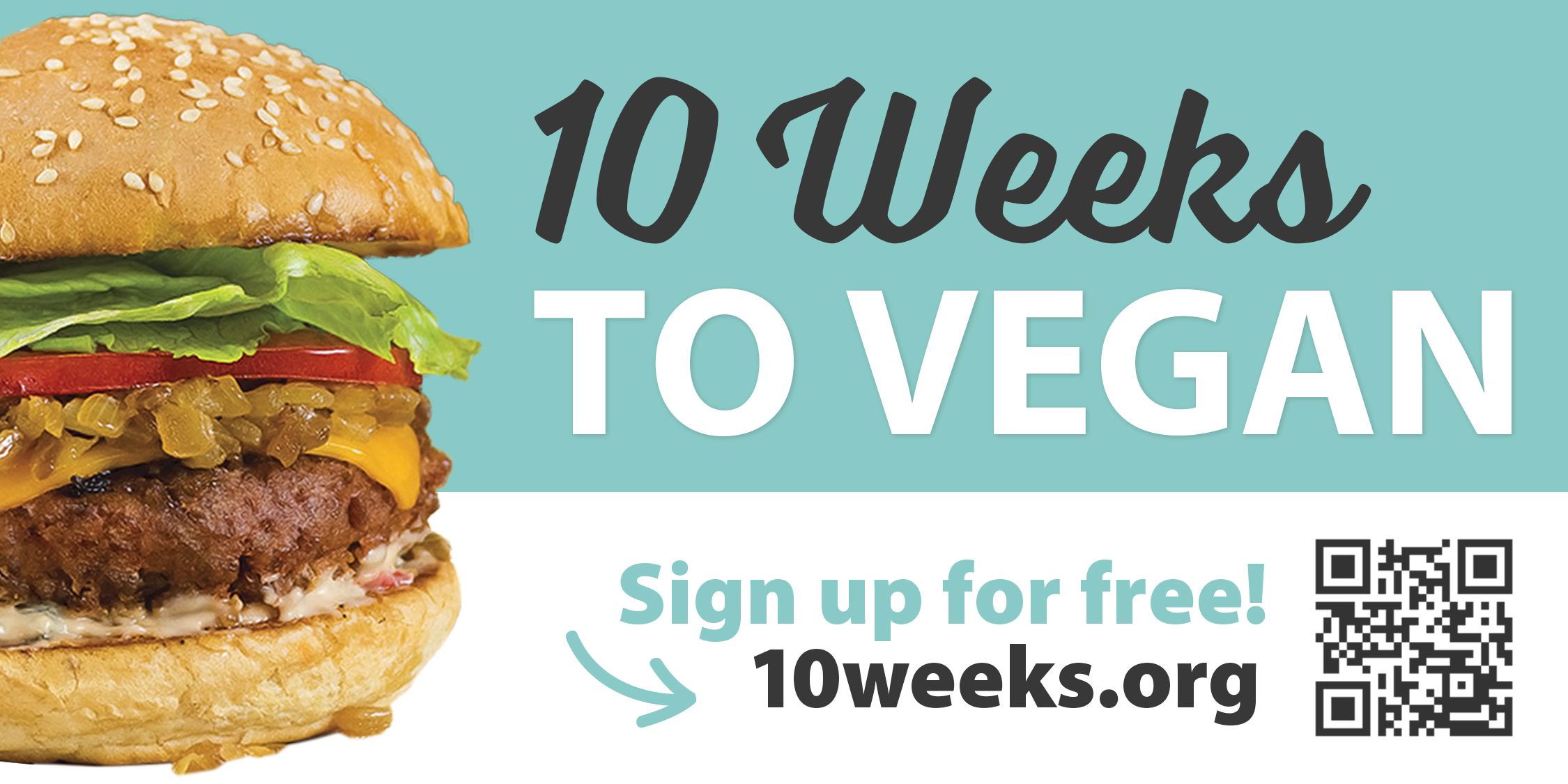 Bumper Sticker – 10 Weeks to Vegan w/ URL & QR Code