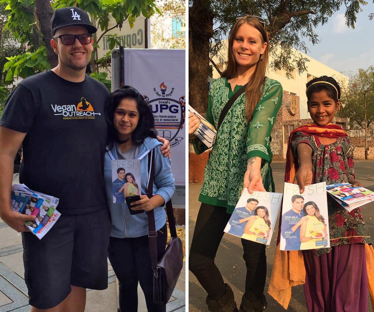 Vic and Nisha at RGCMS and Kim and volunteer at Gujarat U