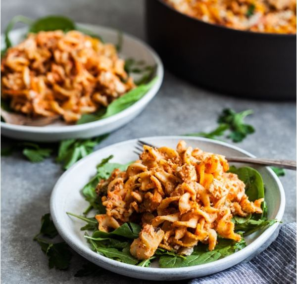 Easy Vegan Pizza Pasta Bake