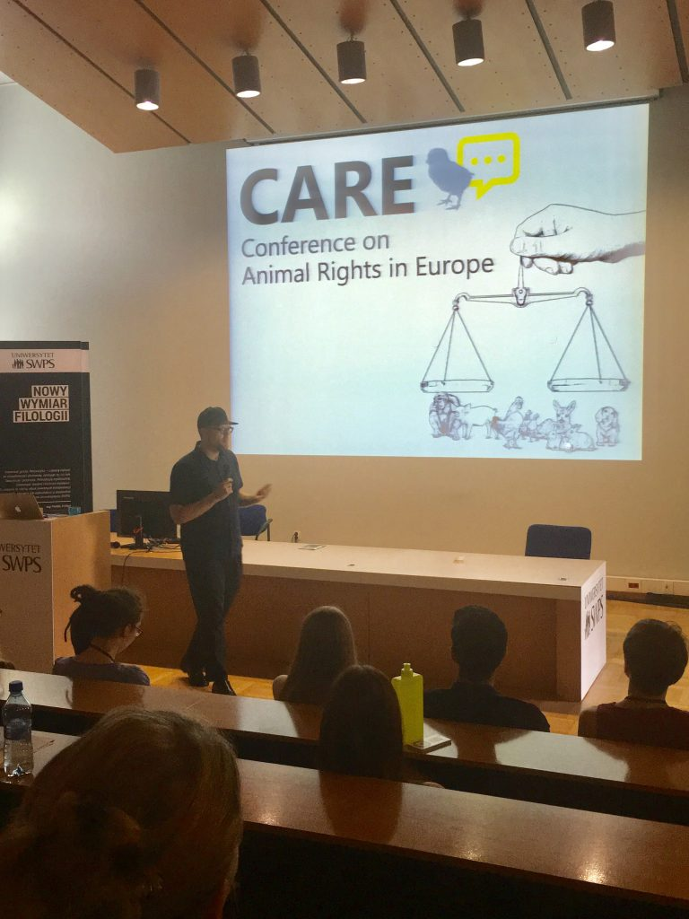 Vic presenting at the Conference on Animal Rights in Europe