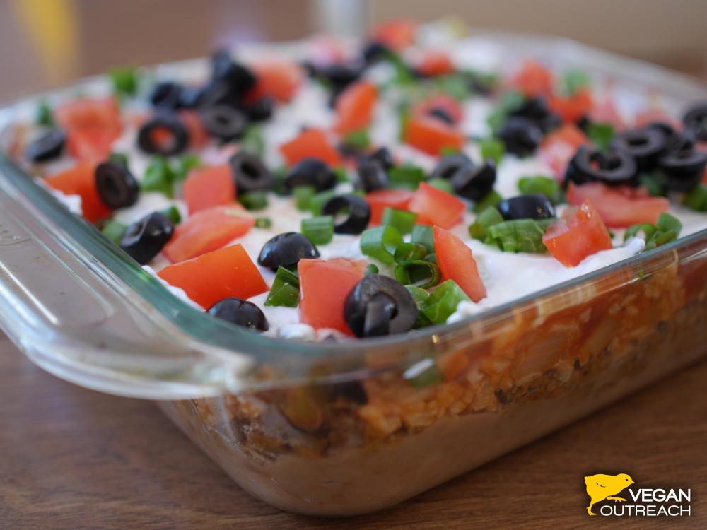 Vegan 7-Layer Bean Dip Recipe by Vegan Outreach!