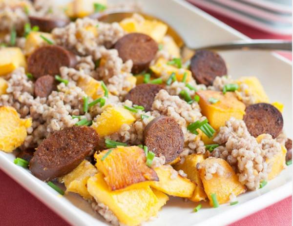 Seitan—Warm Buckwheat Salad with Sausage and Roasted Pumpkin (1)