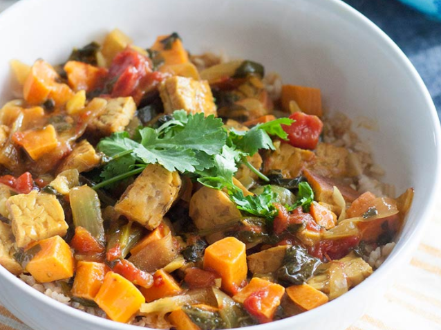 Tempeh—Coconut Curry Tempeh with Sweet Potatoes