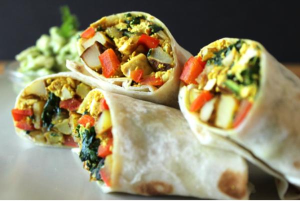 """Tofu and Potato """"Breakfast for Lunch"""" Burrito"""
