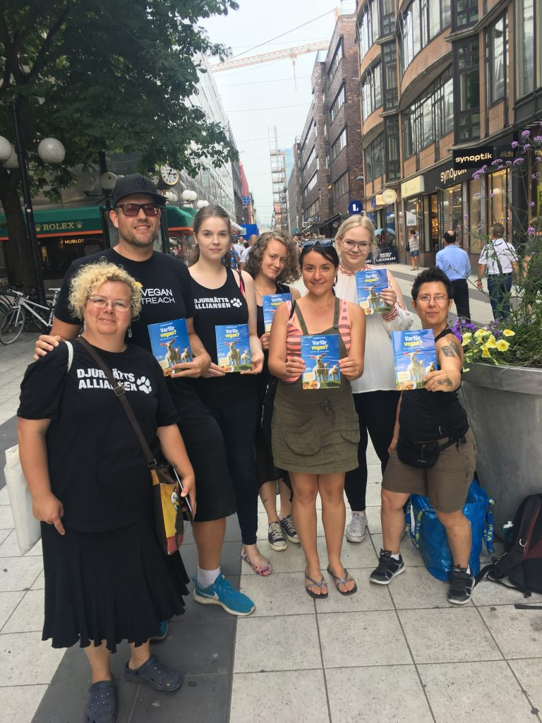 Activists leafleting in Sweden